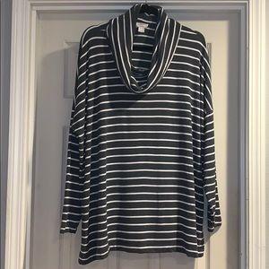 Loft Lounge Grey & White Stripe Cowl Neck Top XL